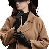 GSG Original Design Womens Full Palm Touchscreen Gloves Spain Genuine Nappa Leather Winter Driving Texting Trendy Ruched Warm Faux Fur 7
