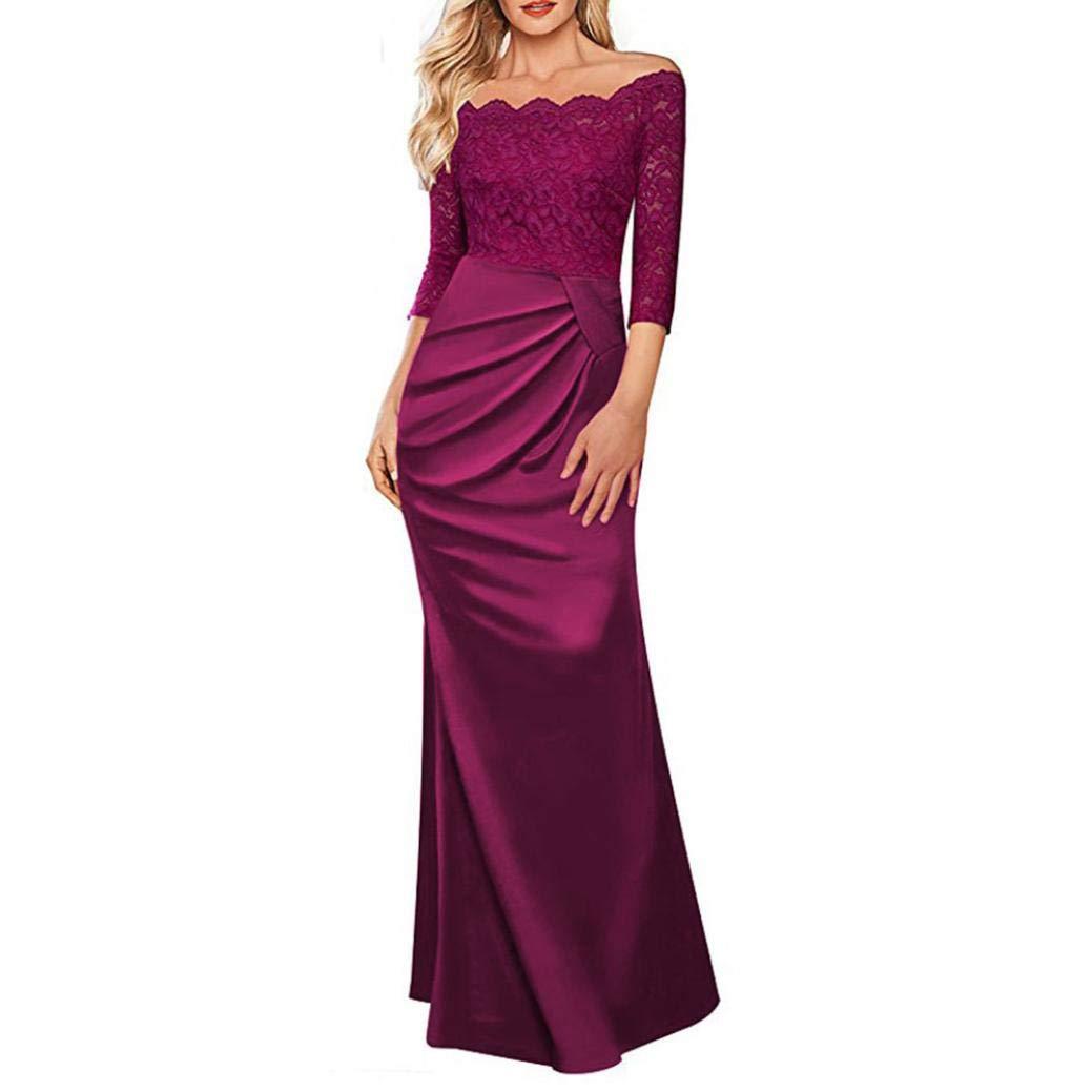 TALLA L. Overdose Vestido Largo Formal De La Tarde del Partido De Tarde del Vestido Largo del Partido De La Tarde del Hombro De Las Mujeres del Vestido De La Dama De Honor del Vestido del Concierto Vino