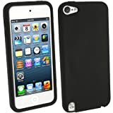 (US) iGadgitz Black Silicone Skin Case Cover for Apple iPod Touch 6th Generation (July 2015 onwards) & 5th Generation (2012-2015) + Screen Protector