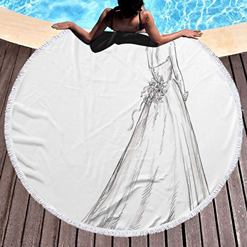 GULTMEE Round Beach Towel Beach Blanket,Fairytale Ending of A Love Story Princess Sketchy Bride with Flowers Image,Large Multi-Purpose Towel Beach Mat 59