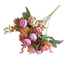 Sanwooden 1 Bouquet Artificial Plastic Rose Flower Plant Home Office Shop Decoration - Pink