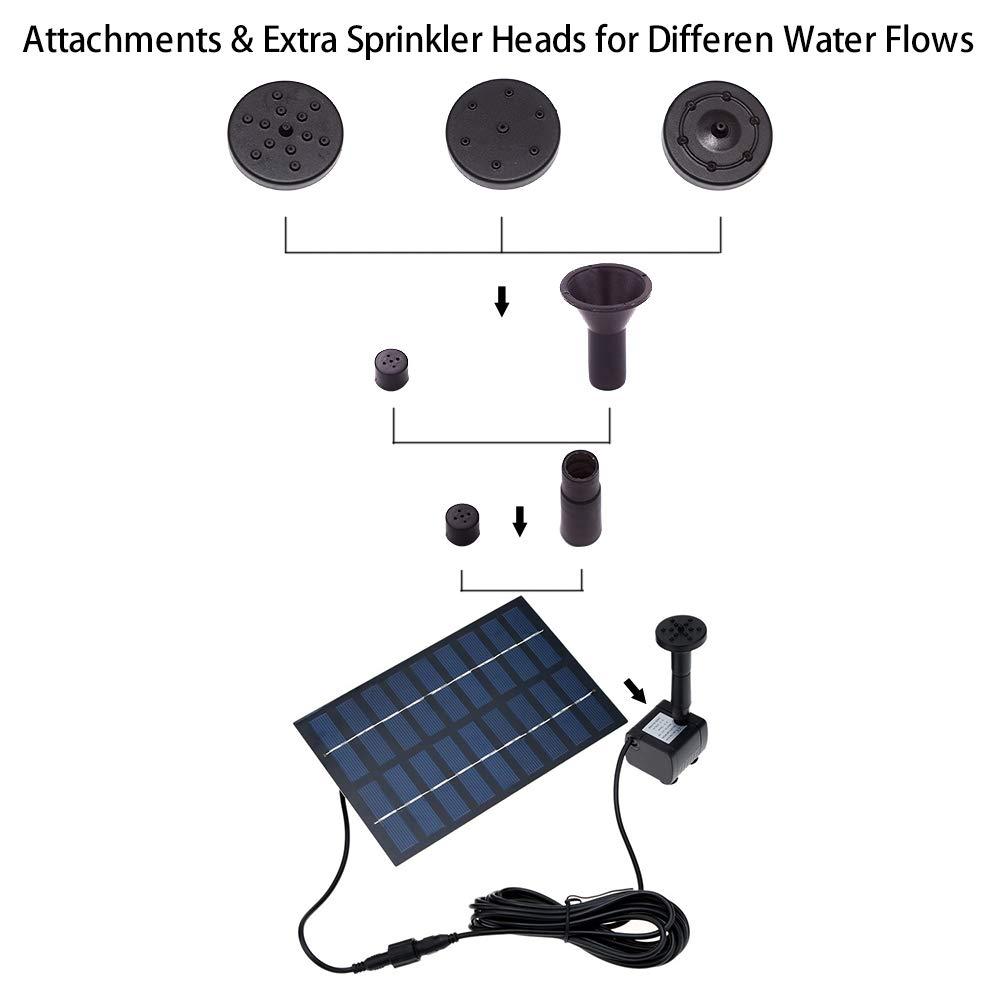 Gocheer Solar fountain Pump, Garden Solar Powered Water Pump 1.8W Panel Kit Free Standing, Outdoor Watering Submersible for Birdbath, Pond, Pool, Patio, Lawn and Garden Decoration
