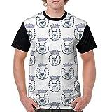 CKS DA WUQ Happy Bear Face Men's Raglan Short Sleeve Tops T-Shirt Novelty Undershirts Baseball Tees