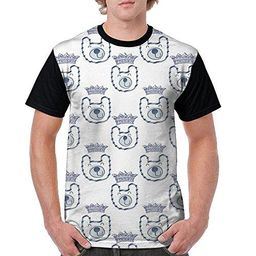 CKS DA WUQ Happy Bear Face Men's Raglan Short Sleeve Tops T-Shirt Novelty Undershirts Baseball Tees by CKS DA WUQ