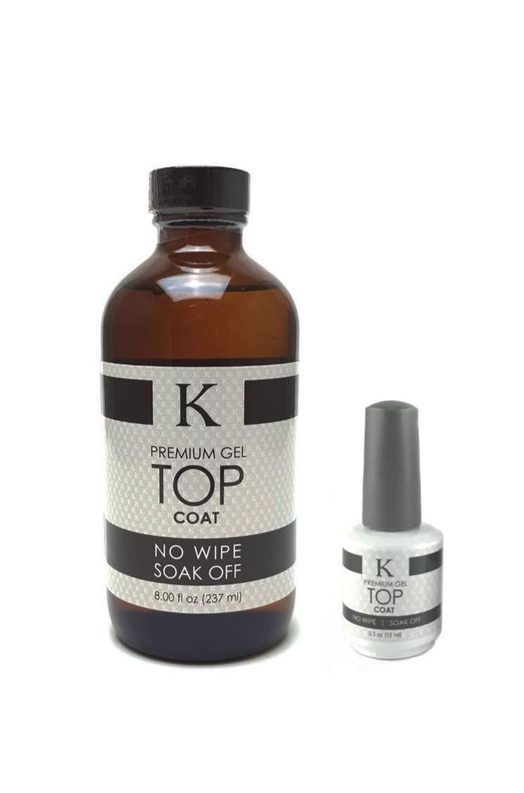 K Premium Gel TOP Coat 8oz. Refill Bottle (15ml Bottle Included) by K GEL