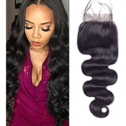 Voguetrend Hair Body Wave Lace Closure Free Part Brazilian Virgin Human Hair Lace Closure Bleached Knots Natural Color with Baby Hair(12'' Free Part Closure)