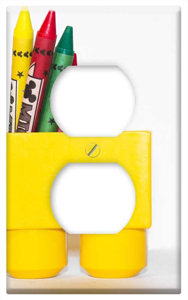 Switch Plate Outlet Cover Crayons Red Green Blocks Baby Toy White