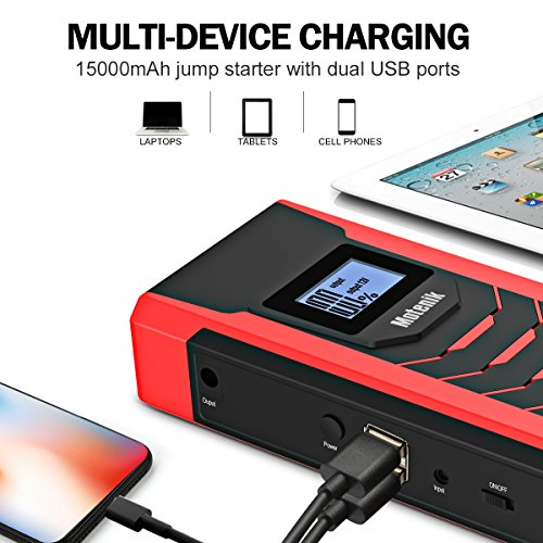 Motenik 800A Peak 15000mAh Portable Car Jump Starter with Emergency Light (Up to 7L Gas or 5.5L Diesel Engines) 5 Modes Car Jump Starter Auto Battery Booster Dual USB Power Bank Updated Version by Motenik (Image #4)