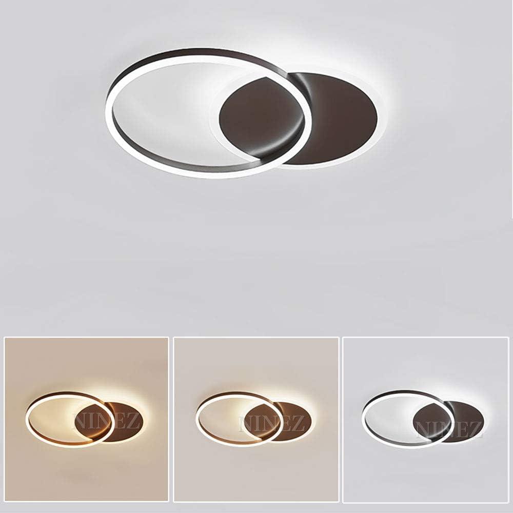 Braun NINEZ Ring Design Decken Lampe Runde LED Aluminium Deckenleuchte Minimalistisch Fernbedienung Dimmbar Deckenbeleuchtung 3000-6000K Acryl Schirm Esszimmerleuchte Wohnzimmer-Lampe Schlafzimmer