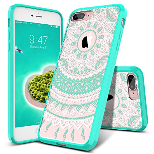 SMARTLEGEND iPhone 8 Plus Case, iPhone 7 Plus Case, [Totem Series] Shock Absorption Full Body Rugged Bumper Clear with Mandala Floral Design Hybrid Protective Case for iPhone 8 Plus/7 Plus- Mint