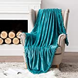 MIULEE Ultra Soft Fleece Blanket Luxurious Fuzzy for Couch or Sofa Lightweight Fluffy Warm Bed Blanket with Cute Pompom Tassels - Super Cozy for Napping Sleeping Throw Size 50x60 inches Turquoise