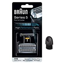Braun 51S Series 5 8000 Series 360 Complete Activator ContourPro Electric Shaver Replacement Foil and Cutter Cassette Cartridge with Cleaning Brush (51S)