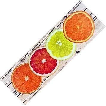 Teppich Läufer Küche teppich läufer waschbar rutschfest design citrus modern sommer