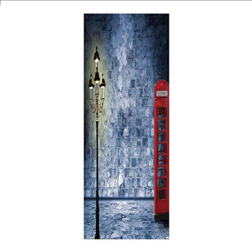 (3D Decorative Film Privacy Window Film No Glue,Lantern,Vintage Scene with Brick Wall and British Phone Box in Dark Scary Night Twilight Painting Decorative,Gey Red,for Home&Office)