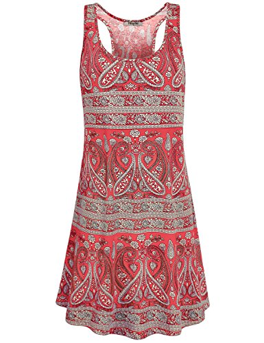 Hibelle Racerback Tank Dress, Womans Scoop Neck Sleeveless Simple Country Style Long Tunic Dress Red XXL 2018