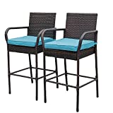 Cheap Sundale Outdoor 2 Pcs All Weather Patio Furniture Set Brown Wicker Barstool with Blue Cushions, Back Support and Armrest