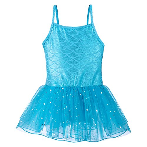 Leotards for Girls Ballet Tank Tulle Dress Sequined Camisole Mermaid Costume (Blue, 150(9-10Y))]()