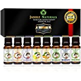 Jadole Naturals Aromatherapy Top 8 Essential Oils 100% Pure & Therapeutic Grade - Basic Sampler Gift Set & Kit