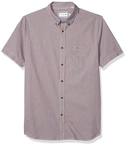 Lacoste Men's Short Sleeve Regular Fit Gingham Woven Shirt