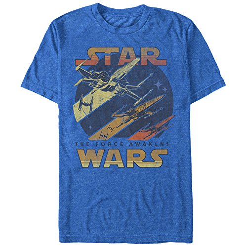 Star Wars The Force Awakens Men's The Force Awakens X-Wing Royal Blue Heather T-Shirt