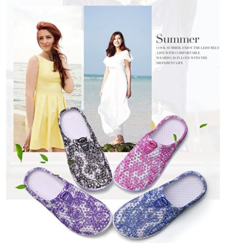 Drying Mules Shoes Garden Breathable Sandals Non Slippers Sandal Women's Quick Slip Flowers Sky Beach Clogs Mesh Slippers Blue vIgfqO