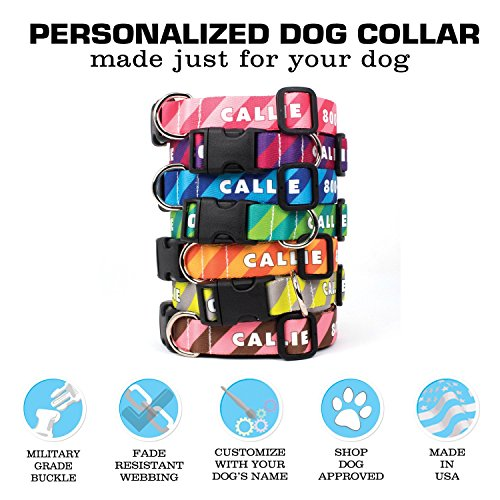 Picture of Buttonsmith Custom Personalized Stripes Dog Collar - Permanently Bonded Printing Process, Military Grade Rustproof Buckle, Resistant to Odors & Mildew, Choice of 5 Sizes, 100% Made in USA
