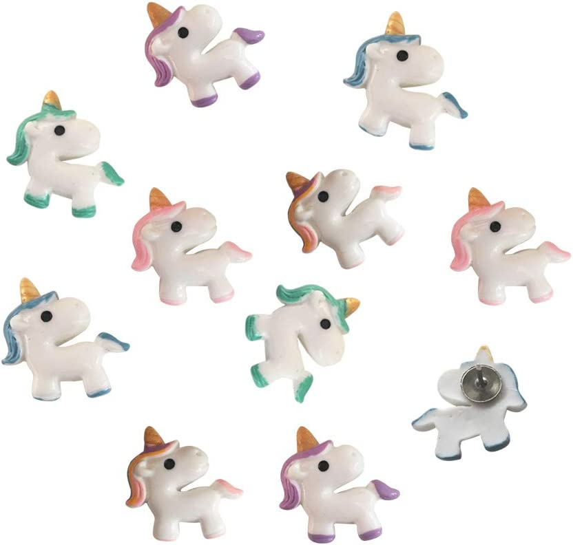 EnewLife 10 Pcs Creative Novlety Decorative Cute Thumb Tacks PushPins Push Pins Soft Flat for Photos Wall, Maps, Bulletin Board or Corkboards (10 Pcs Unicorn Pins)