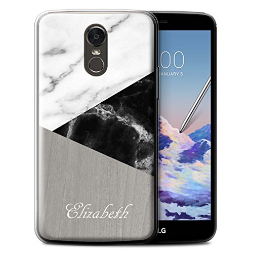 (Personalized Custom Marble/Wood Gel/TPU Case for LG Stylus 3/Stylo 3/K10 Pro / Dark Geometric Design / Initial/Name/Text DIY Cover)