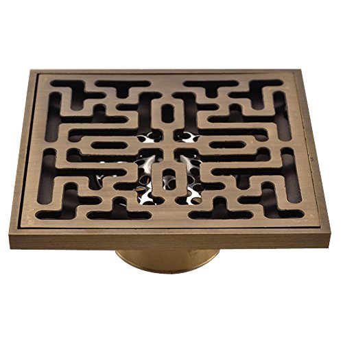 Antique Brass Bathroom and Kitchen and Balcony Square Floor Shower Drain Waste Symmetry Engraving Copper Tee Ground (Brass Floor Drain)