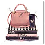 "The Oliver Gal Artist Co. Fashion and Glam Wall Art Canvas Prints '29597 Treasured Handbag' Home Décor, 36"" x 36"", Pink, Black"