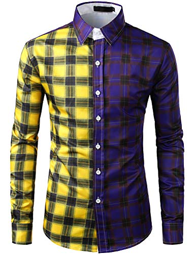 SOWTEE Men's Contrast Check Shirt Slim Fit Button Down Collar Long Sleeve Dress Shirt 3X-Large C459