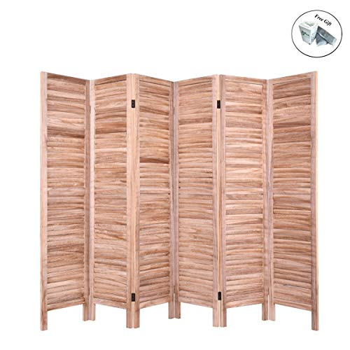 Room Venetian Divider - Folding 6 Panels Classic Venetian Wooden Slat Room Divider Privacy Screen Decor Brown Only by eight24hours + Special Gift
