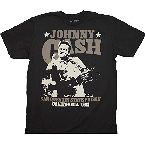 Mens-Johnny-Cash-San-Quentin-Stars-T-Shirt-Black