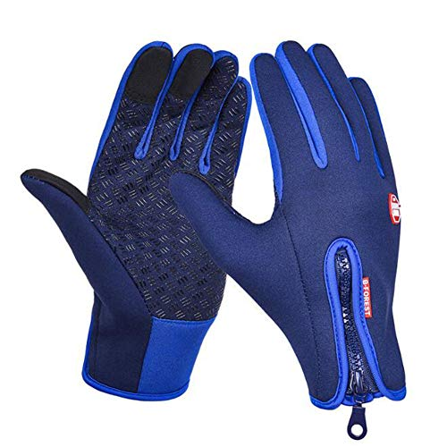 Ggree Outdoor Sports Riding Full Finger Touch Screen Warm Gloves Windproof Waterproof ski Gloves-Thermal Shell & Synthetic Leather Palm - Fits Men & Women(Blue,M)