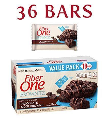 Fiber One Brownies, 90 Calorie Bar, Chocolate Fudge Brownie, 18 Fiber Bars Mega Pack, 16 oz (Pack of 2)