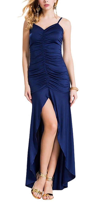 Aivtalk Damen Ohne Arm Rückenfrei Maxi Falten Abendmode Cocktailkleid Partykleid mit Trägern - Dunkelblau