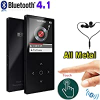 DeeFec Bluetooth mp3 player Touch Screen Ultra thin 8GB Music Player 1.8 Inch Color Screen HiFi Sound with Voice Recorder FM Radio , Lossless Audio Player Expandable Up to 64GB (Black)