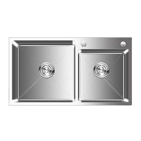 Auralum - Fregadero de Dos Senos para Cocina de Acero Inoxidable (78 x 43 x 22 cm) Fregaderos de Cocina con 2 Agujeros de Montaje y Escurridor