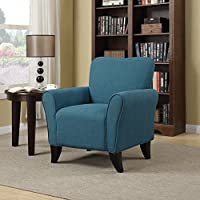 Metro Shop Portfolio Seth Caribbean Blue Linen Curved Back Arm Chair