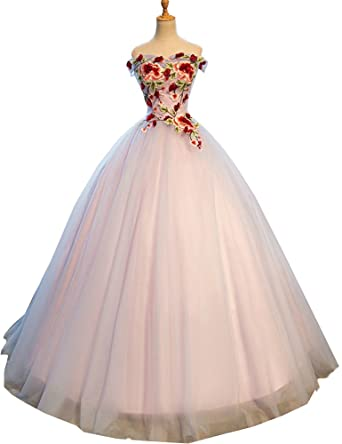 de026a6ec5 OkayBridal Okaybrial Women s Sexy Prom Gown Tulle Embroidery Lace Up  Closure 15 Dresses Quinceanera Dresses Grey