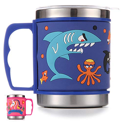 12 Oz Kids 304 Double Wall Vacuum Insulated Stainless Steel Shark Mug with slider Closure Lid - Eco-Friendly - BPA Free - by F-32 Signature Collection (Shark Blue) (Mugs Plastic Christmas Coffee)