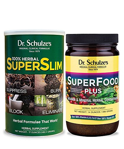 Dr. Schulze's | Superslim & SuperFood Plus Combo | Weight Loss Aid | Herbal Multivitamin Concentrate | Dietary Supplement | Organic Powder | Suppress Appetite & Increase Energy | Essential Minerals For Sale