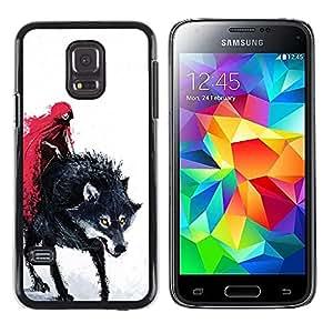 Caucho caso de Shell duro de la cubierta de accesorios de protección BY RAYDREAMMM - Samsung Galaxy S5 Mini, SM-G800, NOT S5 REGULAR! - Red Cape Riding Hood Death Werewolf