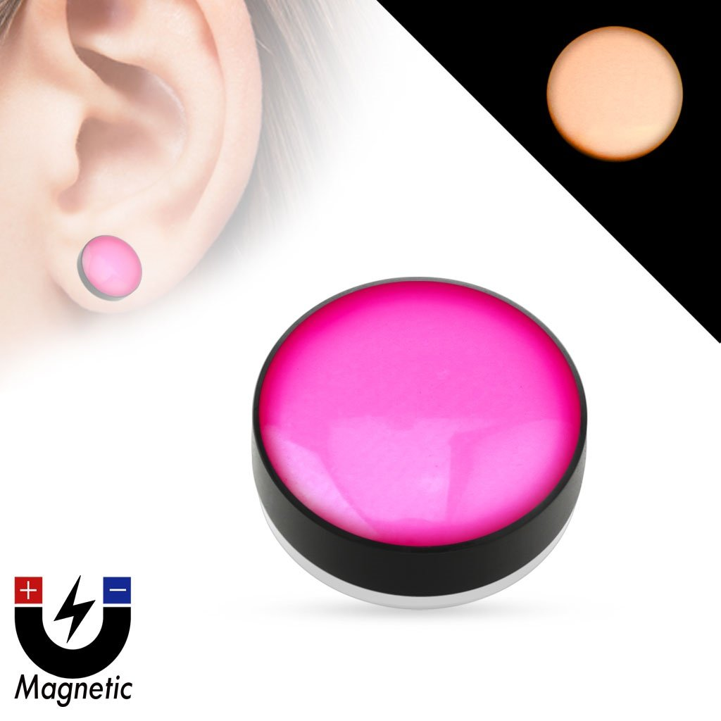Earrings Rings Magnetic Epoxy Dome Top Black Acrylic Glow in the Dark Fake Magnetic Plug Sold as a pair(Pink )