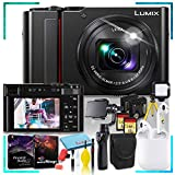 Panasonic Lumix DC-ZS200 Digital Camera (Black) with DJI Osmo Gimbal Phone Stabilizer, Air Pods 1st Gen, 32gb SD Memory Card, 160 LED Light, Flexible Tripod, Extra Battery, and Corel Editing Bundle