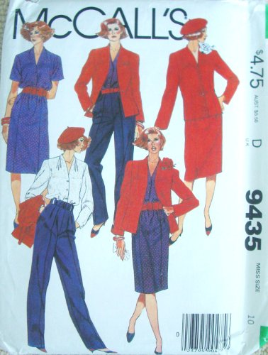 (McCall's 9435 Vintage 80's Sew Pattern ~ Misses' Jacket, Blouse, Skirt and Pants SIZE 10)