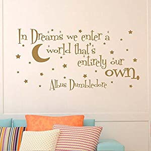 "BATTOO In Dreams We Enter A World That's Entirely Our Own Wall Decal Vinyl Sticker Quote Nursery Kids Baby Children Decor(gold, 28"" h x56 w)"