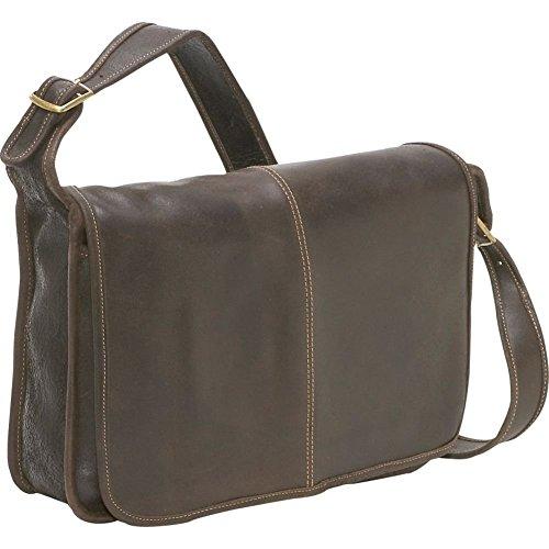 LeDonne Distressed Leather Classic Flap Over Messenger Bag, Choc by LeDonne