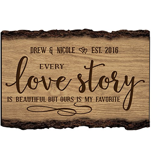 - LifeSong Milestones Personalized Every Love Story is Beautiful But Ours is My Favorite Custom Name Sign Engraved with Established Date (Every Love Story)