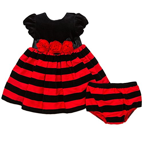 Little Me Baby Girls' Holiday Stripe Dress and Panty, Red, 12 Months -